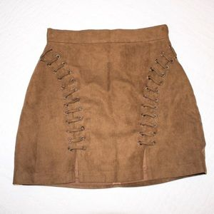 LF brown suede lace up skirt Medium
